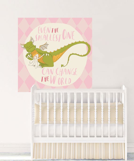 Il_570xn  sc 1 st  Catch My Party & Dragon Wall Decal Even the Smallest One Can Change the World Pink ...