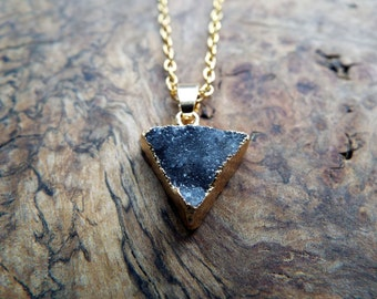 Small black triangle druzy crystal pendant necklace - gold chain
