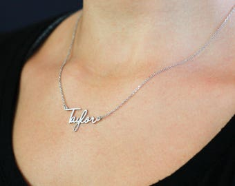 Name Necklace, Personalized Necklace, Custom Name Necklace, Name Pendant, New Mom Gift, Mother's Day Gift, Silver Name Necklace,  SN0224