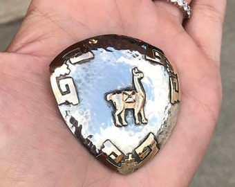 18k Gold and Sterling Silver Alpaca Mayan Theme Large Pendant or Brooch