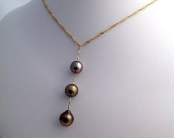 Free Shipping! Tahitian South Sea Pearl 10mm, 10.5mm & 11mm AA set on a 14k Yellow Gold Designer Pendant