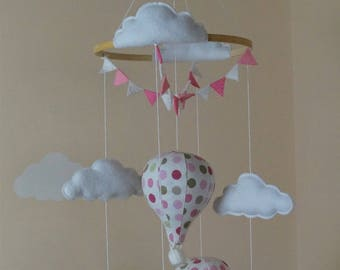 SALE Bundle Hot air balloon baby mobile with matching cot bed blanket