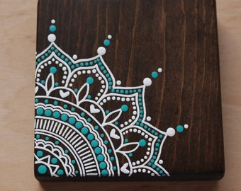 Mandala Mini Sign- COMPLETELY HANDPAINTED -Beachy Bohemian- Mandala Art- Mini Sign- Salty Life Decor