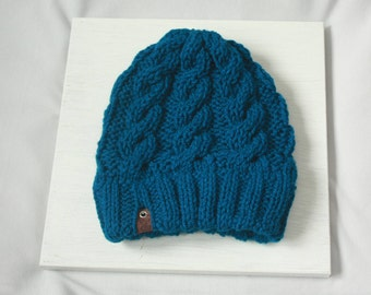 Blue Handmade Cabled Knit Beanie Hat