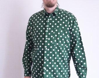 80's Naf Naf 90's Vintage shirt Green white Polka dot print shirt Long sleeve Street style Party Hipster shirt large xlarge