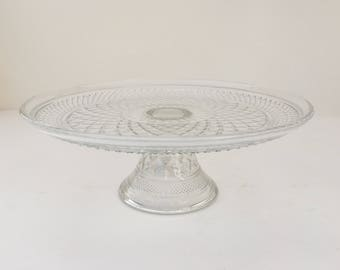 Vintage Clear Diamond Pattern Cake Stand, Vintage Clear Pressed Glass Cake Stand, Vintage Glass Cake Platter, Vintage Clear Glass Cake Plate