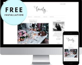 Premade Blogger Template - Responsive Blogger Template - Modern Blogger Template - Feminine Blog Design - Pretty Blog Template - Lovely