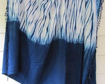 Hand-dyed indigo bomaki shibori sarong, rayon, with fringe, 43 x 72 inches