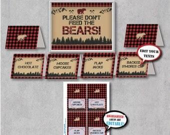 Self-Editing Lumberjack Party Food Tents-Rustic Lumberjack Birthday Food Labels-Lumberjack Baby Shower-Buffalo Plaid-Bear Party-A145-6