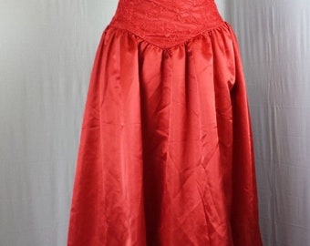 Womens Dress Prom Formal Vtg Princess Bow Puff Sleeve Lace Yoke Waist Satin Lace