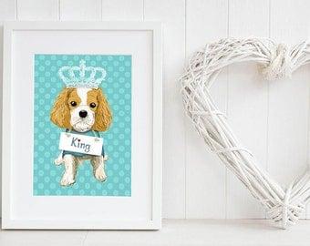 Cavalier King Charles Spaniel print, Cav wall decor, personalised nursery wall art, nursery dog art, blue giclee prints, blue giclee print
