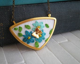 Forget Me Not Butterfly Triangle Embroidery Necklace - Blue Wildflower Pendant - Embroidered Necklace Floral Crewel Embroidery Jewelry Gift