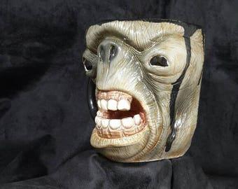 Mug, Ceramic, Lotr, Cave Troll, Dark Green, Ceramic Face, Gothic, Handmade, Handcrafted, Coffee MUG, Funny GİFT