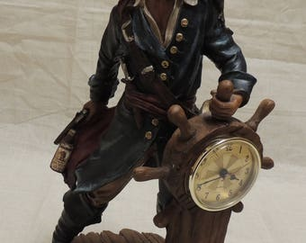 Pirate at the Wheel Clock with Monkey and Bottle of Captain Morgan Rum