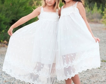 Lace Girl Dress, Lace Flower Girl Dress, Beach Lace Dress, Off-White Bohemian Boho Style Flower girl Lace dress, Rustic Flower Girl dress,