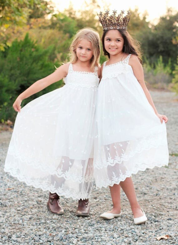 Lace Girl Dress, Lace Flower Girl Dress, Beach Lace Dress, Off-White Bohemian Boho Style Flower girl Lace dress, Rustic Flower Girl dress,