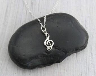 Treble Clef Necklace Silver G Clef Jewelry, Treble Clef Gift for Musician Necklace, Treble Clef Charm Necklace, Silver Treble Clef Jewelry