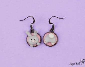 Easter earrings Bunny booty Earrings Mismatched earrings Easter jewelry Kids Earrings Funny Rabbit earrings Cute Bunny Earrings Easter gift