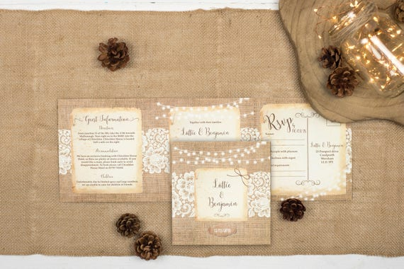 Rustic Wedding Invitation - Double-Folded Burlap And Lace