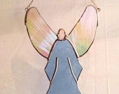 Blue Angel Sun Catcher, Iridescent Clear Wings, Peach Glass, Stained Glass Sun-catcher, Bright, Cheerful; Gift Wrapping Available