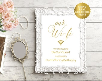 Wifi Password Sign / Wifi Wedding Sign / Wifi Sign / Internet Password / Guest Room Decor / Wifi Print / Wifi Password Sign / Gold Foil