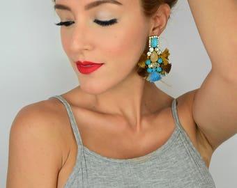 Tassel Earrings, Multicolor Earrings, Summer Earrings, Colorful Earrings, Bridal Earrings, Fashion Jewelry, Rhinestone Earrings, Threader