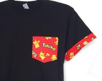 SALE! Pokemon Pocket T-Shirt, Pokemon T-shirt, Pokemon Pocket Roll-up Sleeves Tee, Pokemon Roll up Sleeves Youth T-shirt, Pokemon Shirt