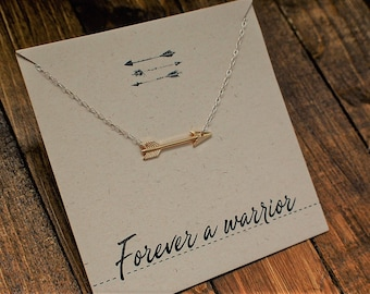 Gold Plated Arrow Necklace with Delicate Silver Chain// Forever A Warrior// Arrow Jewellery