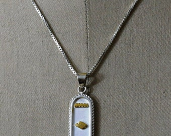 Put Your hieroglyphic Name with 18 Karat Gold On Elegant Pendant Silver CARTOUCH with Chain