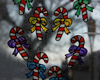 Set of 8 Candy Cane Handmade WIndow Clings
