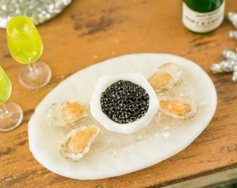 Raw Oysters on the Half Shell and Black Caviar Appetizer - 1:12 Dollhouse Miniature