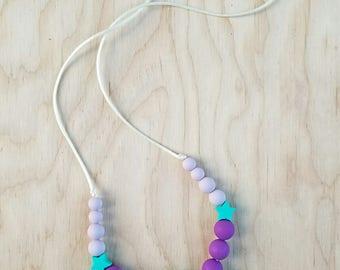 Mom necklace,  mom chewelry,  sensory necklace, star necklace, teething necklace, silicone necklace, nursing necklace, teether, chewelry