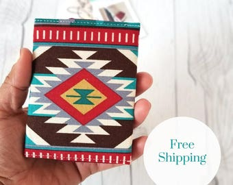 Tribal Wallet, Teal Wallet, Slim Wallet, Small Women Wallet, Business Card Wallet, Credit Card Wallet, Credit Card Case, Maroon, Gift Idea