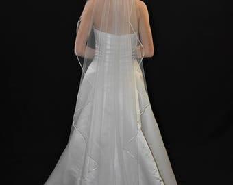"75"" Angel Cut/Waterfall Cut Floor Length Wedding Veil with 1/8"" Flat Satin Ribbon Edge"