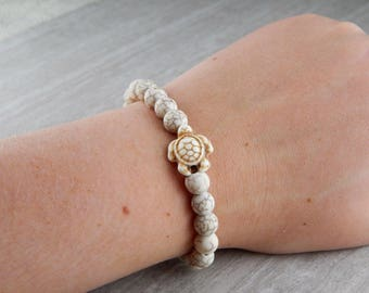 White Turquoise Matte Sea Turtle Bracelet | Sea Turtle Bracelet | Charitable Cause | Beach Bracelet | For Her | For Him