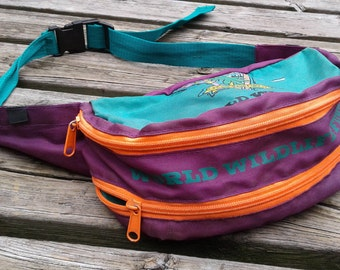"Vintage 90's World Wildlife Fund ""Save the Rain Forests"" Colourful Fanny Pack / Waist Bag"
