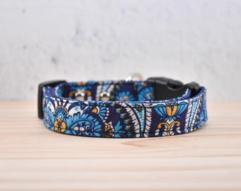Paisley pattern Adjustable Dog Collar / silver buckle / melodys pet collars