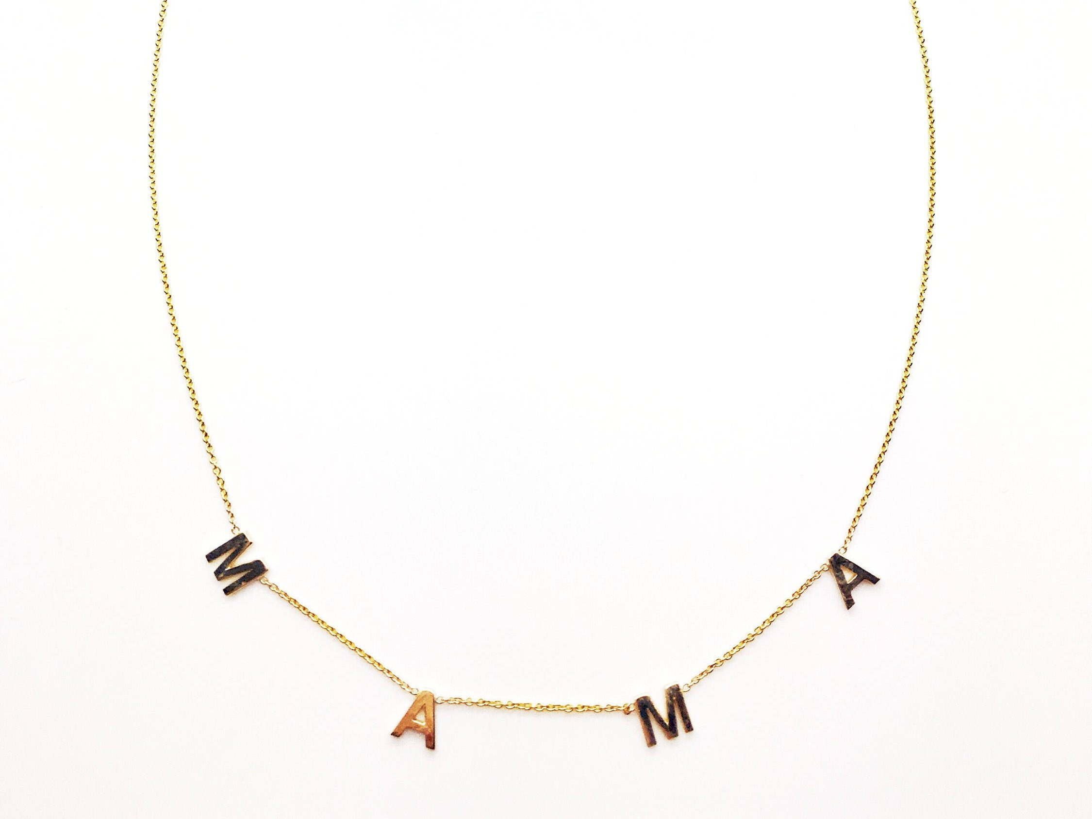 14k solid gold spaced letter name necklace rose gold With spaced letter necklace
