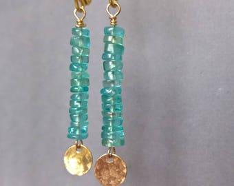 Long blue dangle earrings, stick earrings gift, blue apatite earrings, xmas gift ideas for wife, long earrings, gold earrings dangle apatite