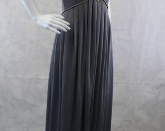 Disco Silver Pleated Dress | Split Front | High Low | Rhinestone | Slight Stretch Knit | Evening Prom Bridesmaid Wedding | Empire Waist