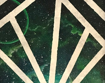 Galaxy, Green space, Nebula, Acrylic painting,Geometric, Masking art, Stars, Planet