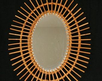 """Rattan sunburst mirror, French oval 1970s rattan mirror, ~20"""" x 24"""" vintage starburst mirror"""