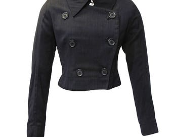 ANN DEMEULEMEESTER Archive jacket in wool, Sz. S beautiful detailing, Dior-esque 'New Look' shape