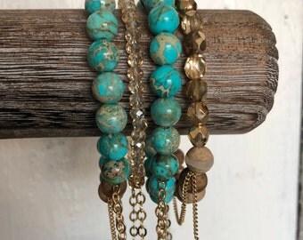 TURQUOISE, stacked bracelet, bracelet set, beaded bracelets