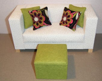 1:6 Scale Furniture Pouf and 4 Pillows - Barbie Momoko Blythe Pullip Fashion Dolls - Living Room Diorama - Green, Black, Fuschia