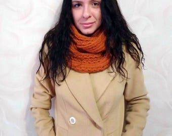 Brown knit scarf, Infinity scarf, Chunky Knitted Scarf, Scarves knit, Gift for her, Chunky scarf, Knit Scarf Cowl Chunky Brown,Womens Scarfs