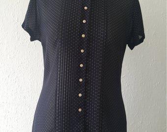 1990s St Michael blouse•vintage blouse•polka dot blouse•blue blouse•ladies top•womens top•UK 8/10•US 6/8