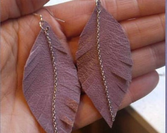 Leather Feather Earrings/Boho Chic Earrings/Feather Statement Earrings/Gift For Her