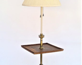 Mid Century Stiffel Wood Floor Side Table with Brass Lamp - Working Condition