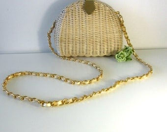 Vintage Straw Structured Crossbody Bag